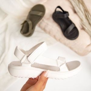 Shoes - Velcro Sport Sandal in Off White